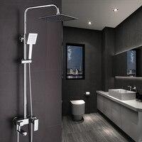 Chrome Finished Wall Mount Big Rain Shower Set Mixer Faucet Bathroom Adjust Height Handheld Shower Bathtub