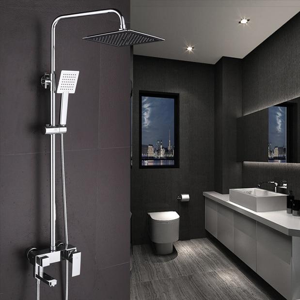 Shower Faucet Chrome Brass Wall Mount Square Big Rain Shower Set