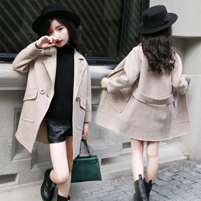 a79f65564dd8 2018 Fall New Arrival Girls Fashion Woolen Clothes Jacket Korean Hot ...