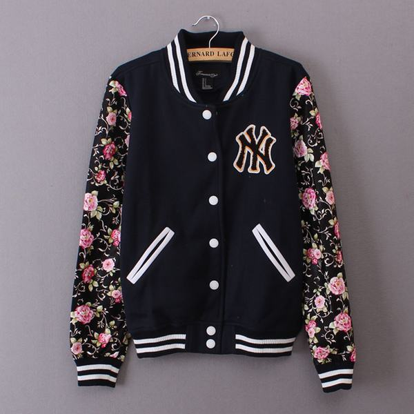 Women NY Floral PU Blocked Baseball Letterman Jacket-in Basic Jackets from  Womenu0027s Clothing u0026 Accessories on Aliexpress.com | Alibaba Group