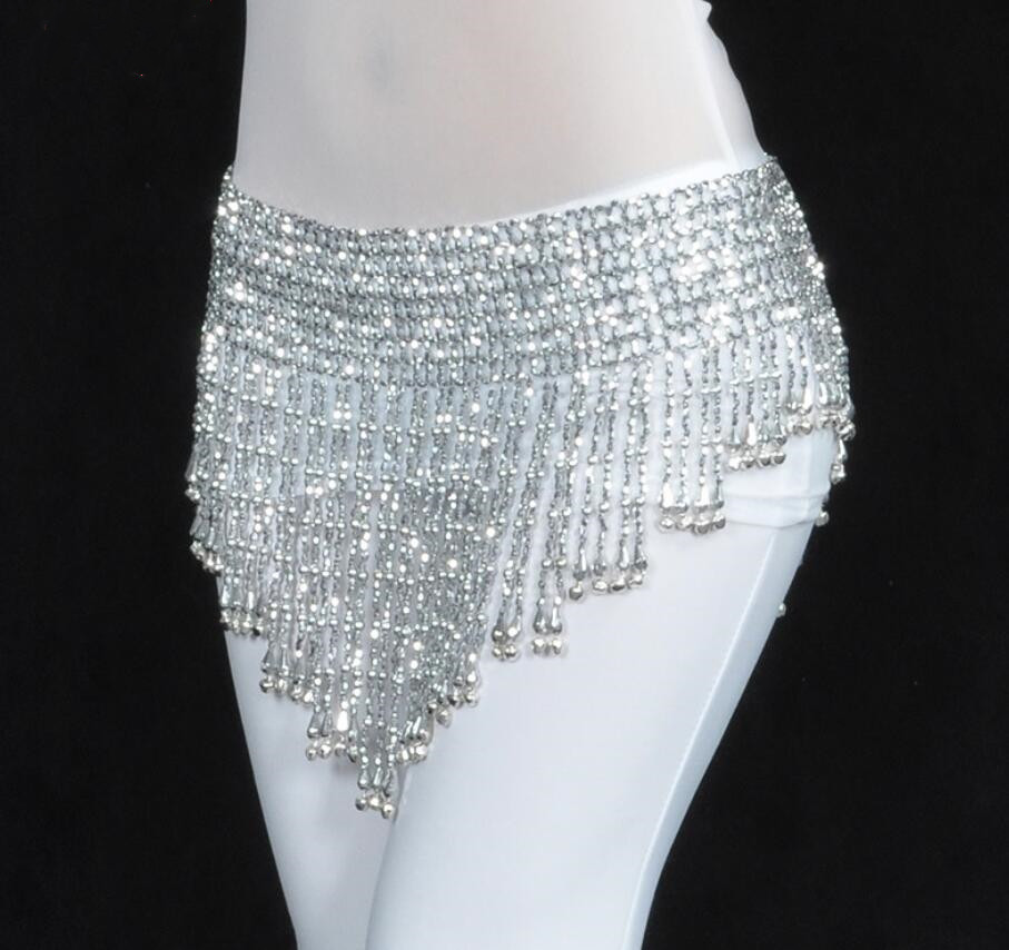 Waist-Chain Scarf Beads Dance-Belt Belly Dancing Silver Diamante Triangular Golden Hip