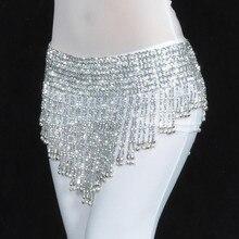 Танец живота треугольная Талия цепь хип Диаманте бусины кисточка колокольчики шарф танцевальный пояс Одежда для танцев серебряный золотой