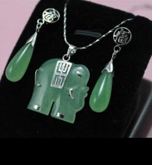יפה! תכשיטי פיל ירקן ירוק שרשרת תליון עגיל סט