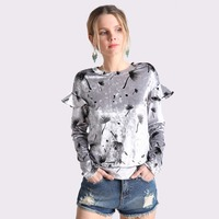 Autumn Winter Female Velvet T Shirts 2017 Long Sleeve Sexy O Neck Floral Printed Ruffles Casual