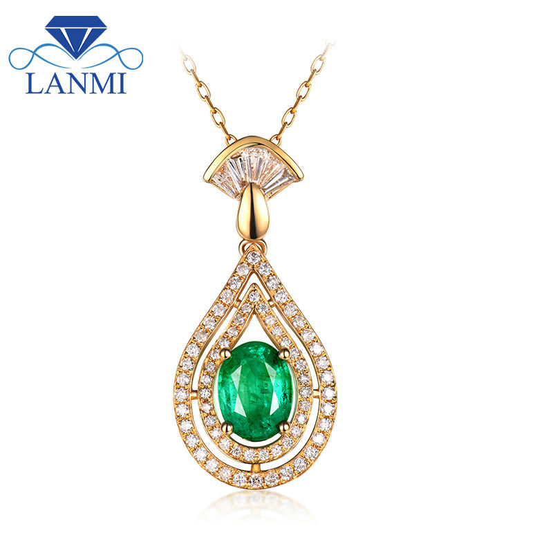 Trendy Design Solid 14kt Yellow Gold Genuine Green Oval