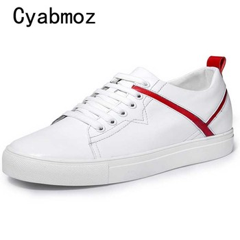 Male Sneakers Invisible Elevator Shoes For Men Height Increasing 6cm Man White Genuine Leather Casual Shoes chaussure homme