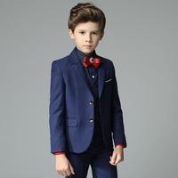 Mùa xuân Đẹp Trai Toddler Trai Dark Blue 4 cái/bộ (Blazer + Quần + Áo Sơ Mi + Bowtie) Wedding Chàng Trai Hoa hiển thị/Hiệu Suất Phù Hợp Với B