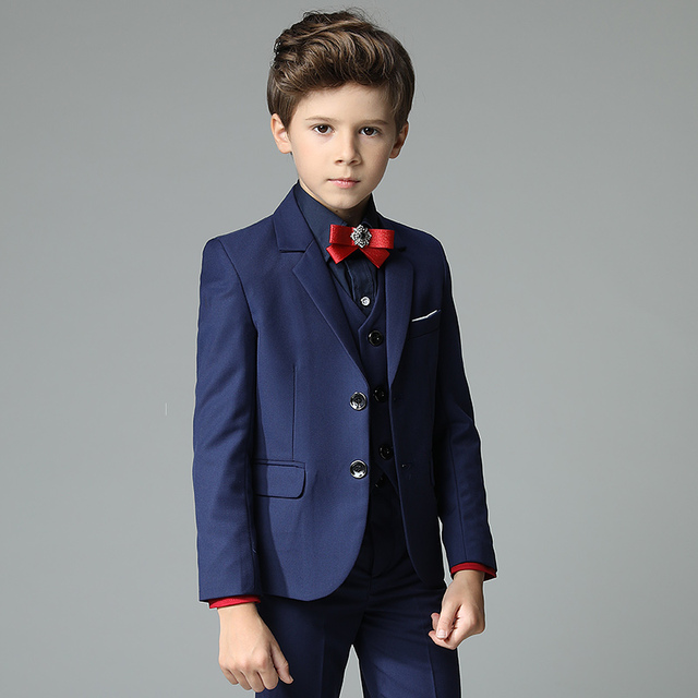 b3ad5600bef20 Spring Handsome Toddler Boys Dark Blue 4pcs set  (Blazer+Pants+Shirts+Bowtie) Wedding Flower Boys Show Performance Suit Sets