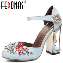FEDONAS New Retro Floral Spring Party Wedding Shoes Woman Pumps Luxurious  Cutouts High Heel Crystal High 7b1aa028f6ad