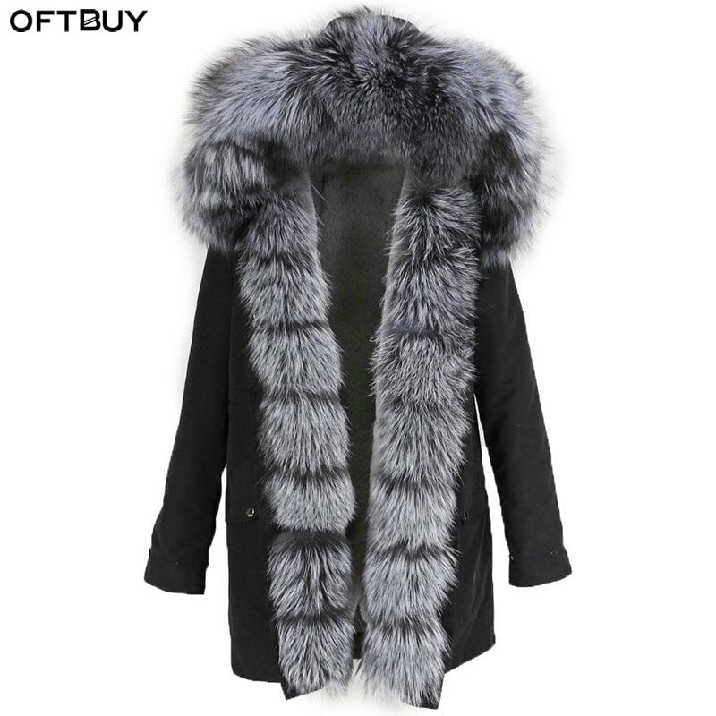 OFTBUY Real Fur Coat Natural Fox Fur Collar Hood Winter Jacket Women Waterproof Long Parka Warm