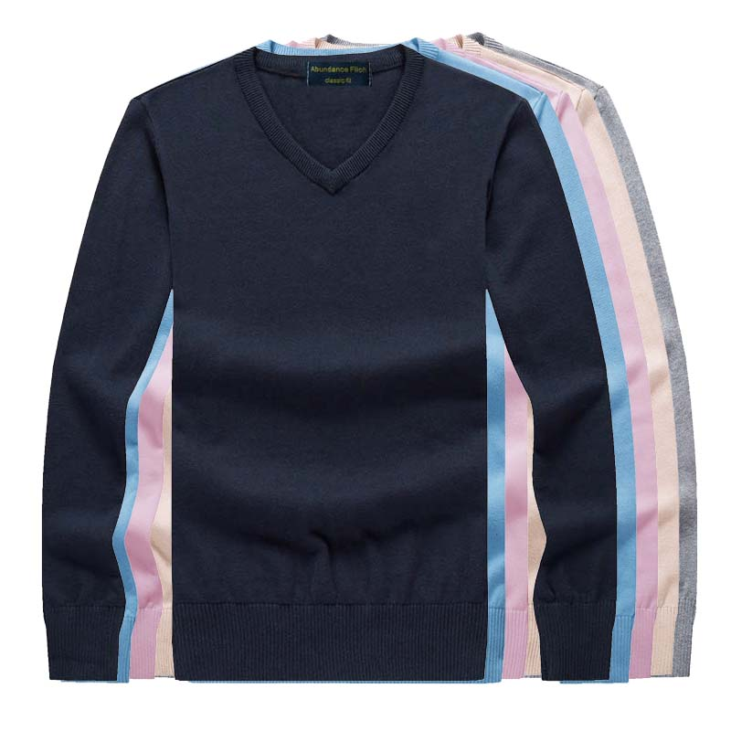 2019 New Spring Mens Sweater Pullovers Simple Style Cotton Knitted V Neck Sweater Jumpers Thin Male Knitwear Blue Red Black