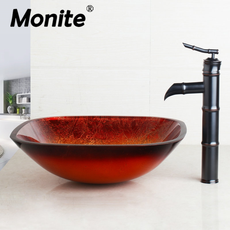 Black Bathroom Sink Washbasin Bath Set Faucet Mixer Taps Square Gold Tempered Glass Oil Rubbed Bronze Bathroom Basin Tap Set