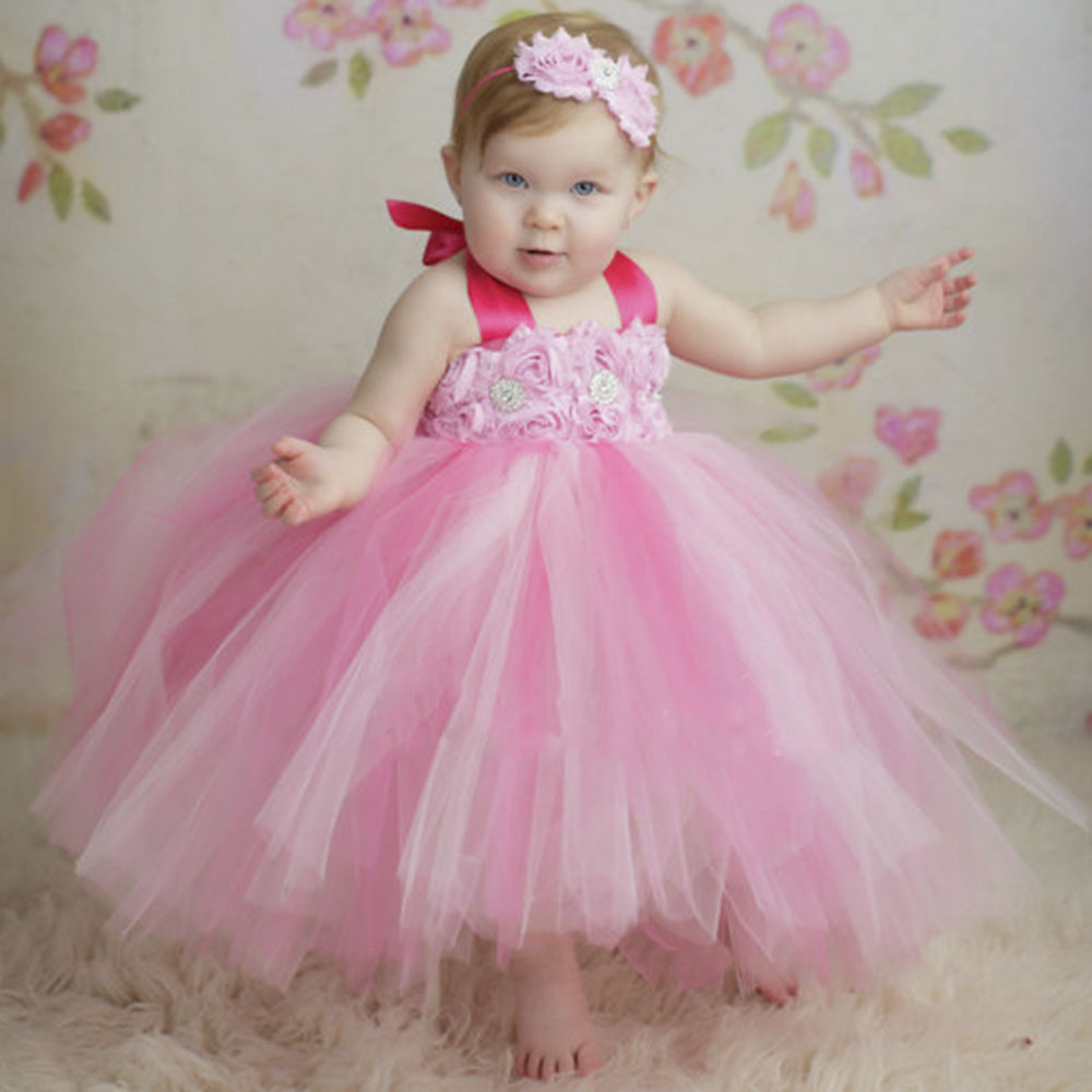 Shabby Flower Girl Pink Tutu Dress Toddler Baby Girls Birthday Wedding Party Tulle Tutu Dresses Can Be Customized pink princess baby dress light purple flower girl tutu dress wedding birthday party girls gown toddler dress pt322