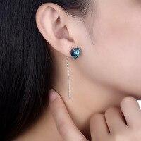Austria Crystal Tassel Earrings Women's Style Real 100% Sterling Silver 925 Long Brincos Bizuteria Drop Jewelry Heart Shaped