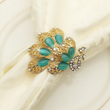 12PCS Hotel Western napkin buckle metal peacock ring alloy diamond gold / silver