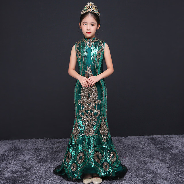 Online Shop Luxury Mermaid Flower Girl Dresses for Wedding Sequined ...