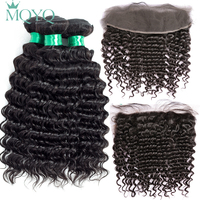 MQYQ Malaysian Deep Wave Hair 13 4 Lace Frontal Closure With Bundles Deep Curly Human Hair