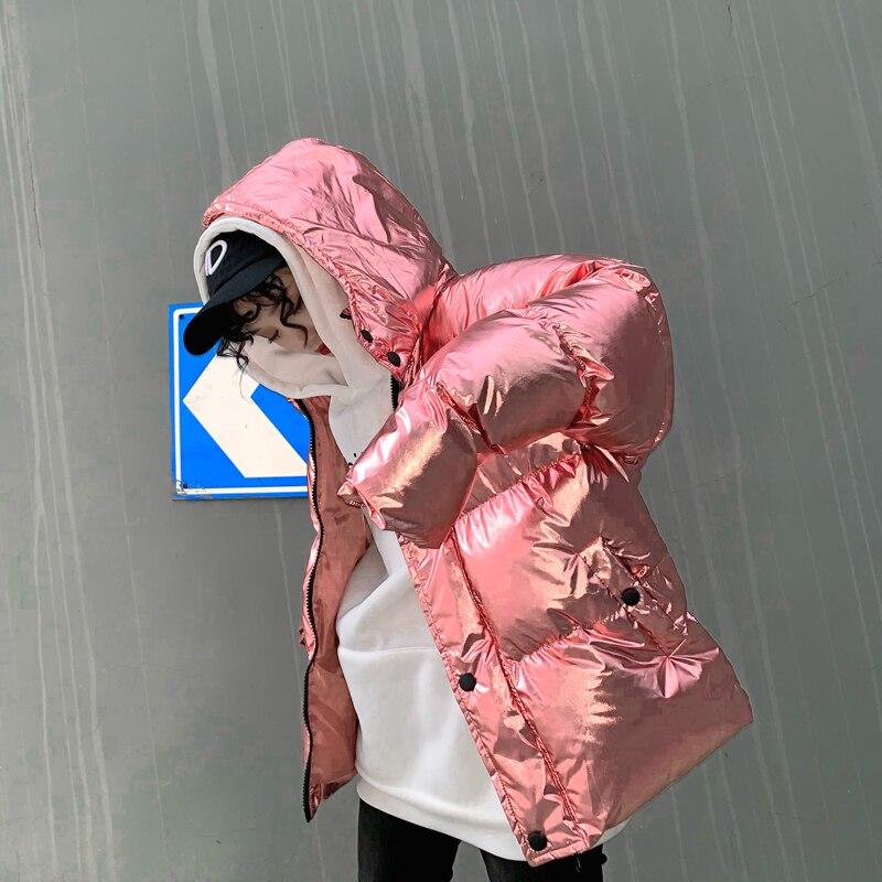 La Bas Surdimensionné D'hiver argent Top Femmes Noir Streetwear Brillant Parkas Chaleur Super Argent Veste Harajuku Épaisse rose Ins Feu 1BqR8