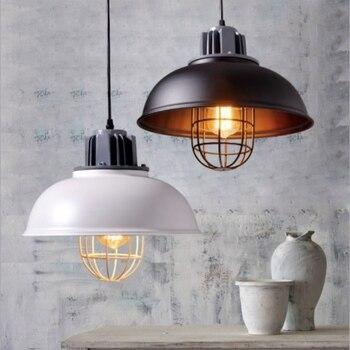 Vintage Brief Industry Black/White Led E27 Pendant Light for Living Room Dining Room Restaurant Dia 35cm 1677