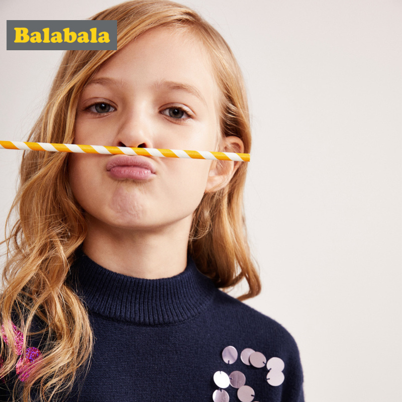 Balabala Girls Fine Knit Mock-Turtleneck Sweater with Sequin Dropped Shoulder Sweater with Ruffle-Trimed Hem Ribbed Cuff and HemBalabala Girls Fine Knit Mock-Turtleneck Sweater with Sequin Dropped Shoulder Sweater with Ruffle-Trimed Hem Ribbed Cuff and Hem