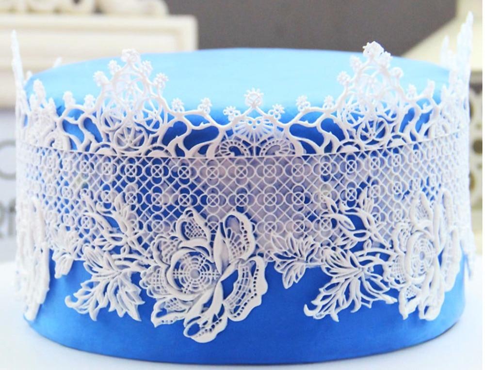 MX069 Rose flori Lace Mould Silicon Sugar Lace Pad Tort Brim Decorare Bucătărie DIY instrument