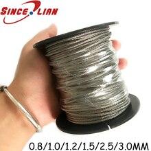 304 трос из нержавеющей стали подъемный кабель 5 м 7X7 структура 0,8 мм, 1 мм 1,5 мм 2,5 мм 3 мм Диаметр DIY Проволочный Трос металлические провода