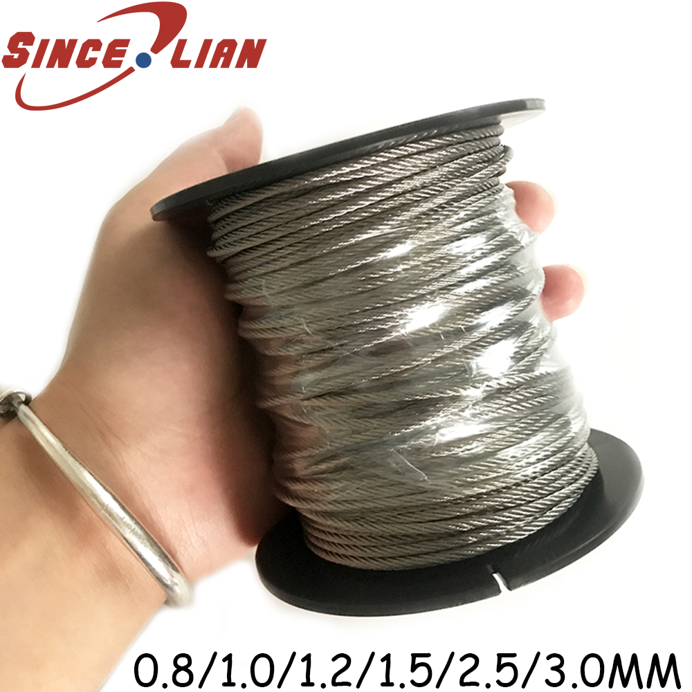 304 stainless Steel Wire Rope Lifting <font><b>Cable</b></font> 5M 7X7 Structure 0.8mm,<font><b>1mm</b></font> 1.5mm 2.5mm 3mm Diameter DIY Wire Rope Metal Wires image