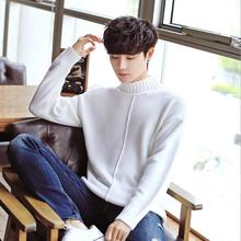 2018 White Men's Casual Male Comfortable Thicken Jacquard Sweater Half-Turtleneck