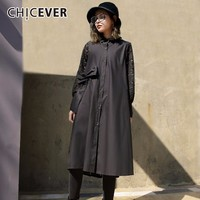 CHICEVER Spring Patchwork Lace Women Dress Female Long Sleeve Loose Bandage Women S Dresses Of The