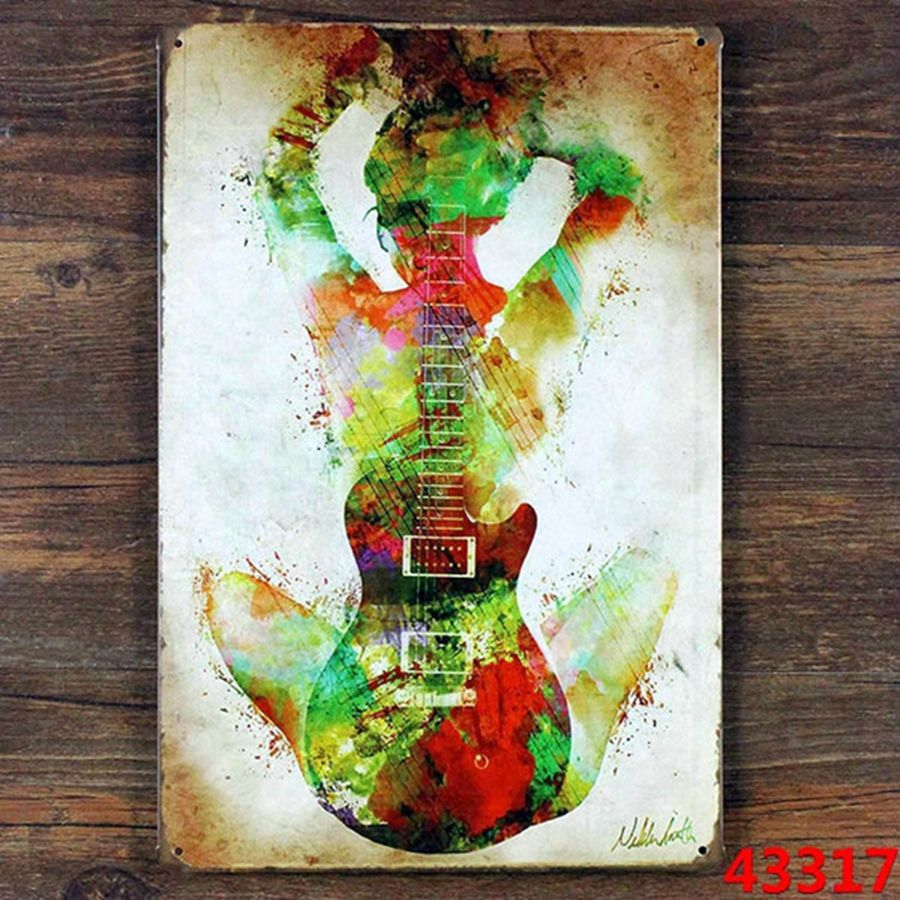 Tin Wall Decor Vintage : Vintage creative guitar musical wall decoration metal tin