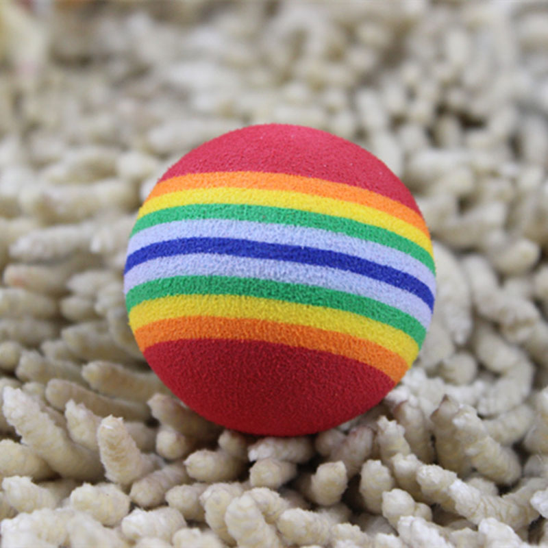 Funny Pet Toy Baby Dog Cat Toys 3.5cm Rainbow Colorful Play Balls For Pets Products  Lbshipping