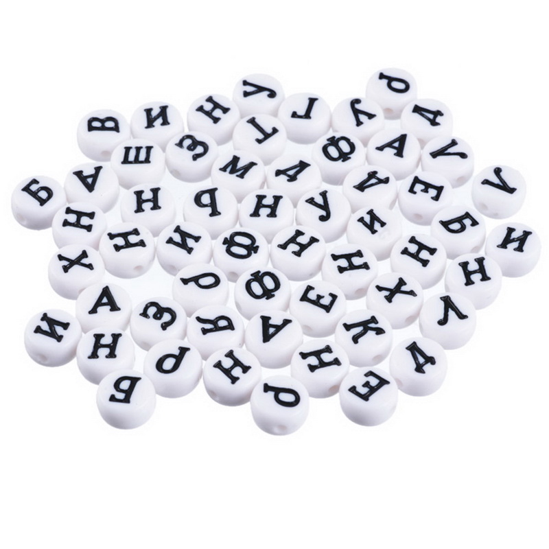 CALOFE 300PCs Round Flat Alphabet Beads Acrylic Letter Heart Spacer Beads For DIY Jewelry Making Random For Needle Work Funny