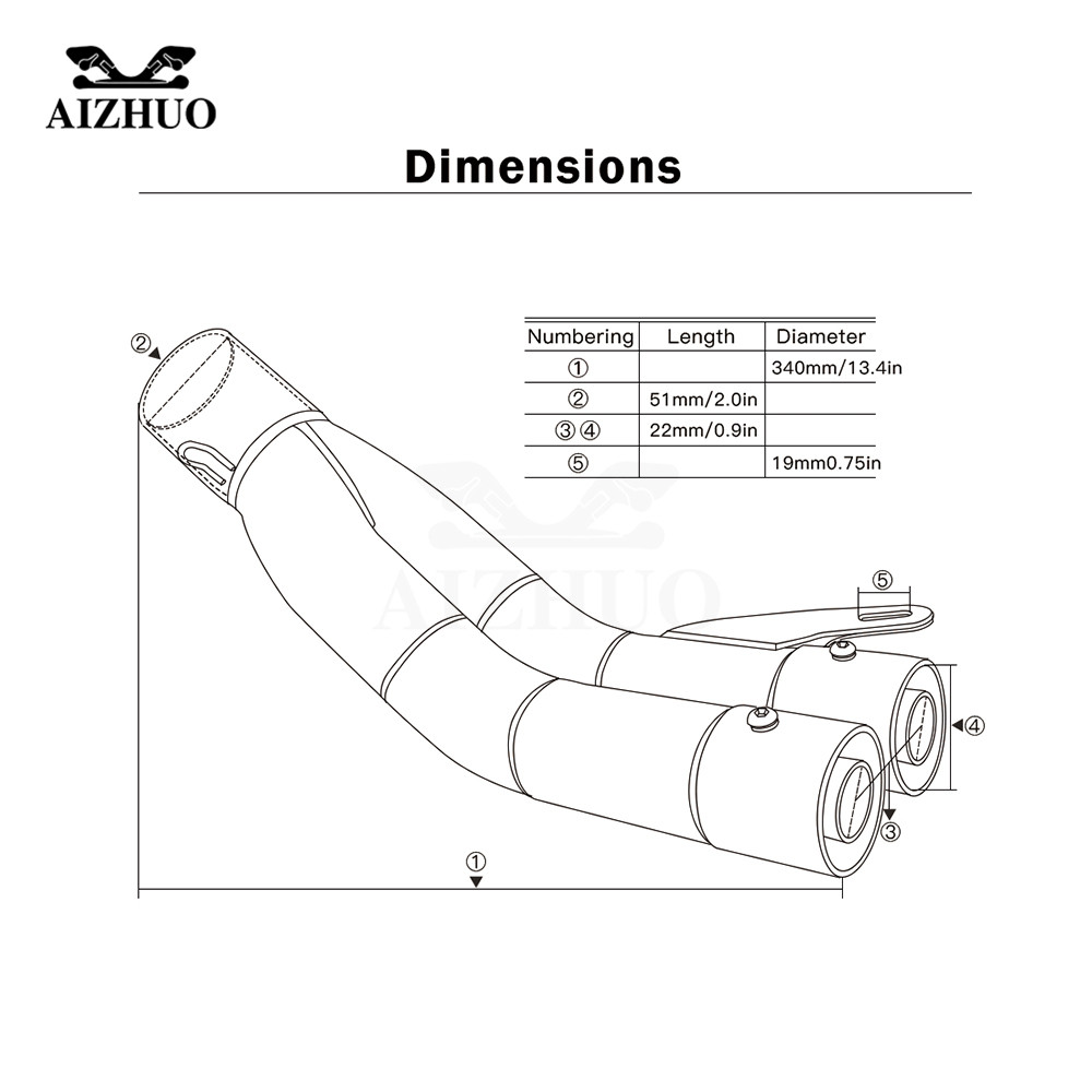 36mm 51mm Motorcycle Exhaust Muffler Pipe For Yamaha Dt 125 Mt03 Mt 03 Wiring Diagram Honda Pcx Xmax 400 Bmw F650gs Ducati Monster 620 In Systems