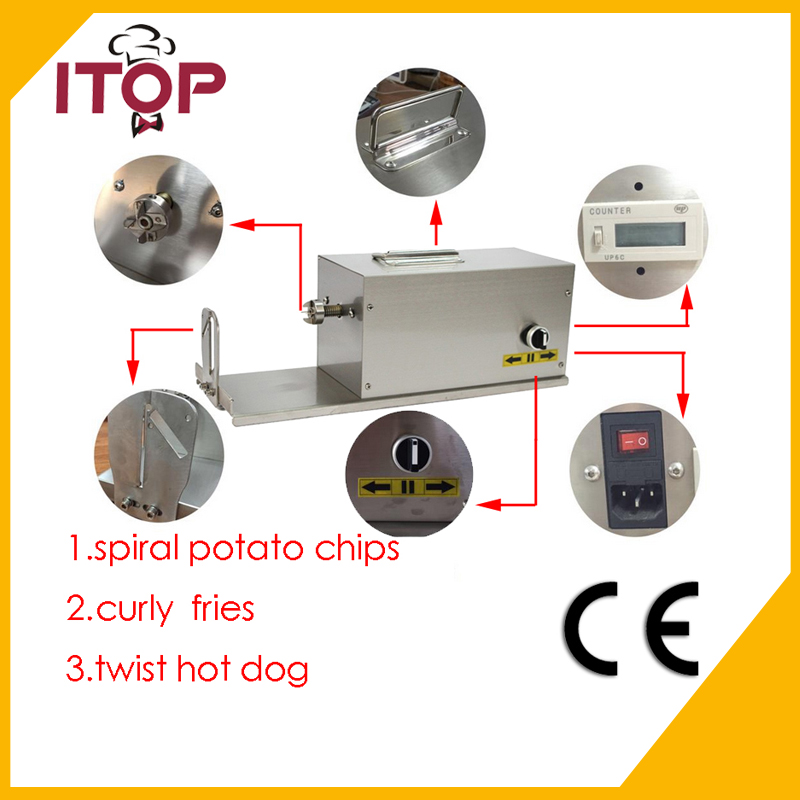 ITOP Commercial Electric Tornado Potato Slicer 110V 220V Twisted Vegetable Cutter HE03 руководство twisted картофеля фри из нержавеющей стали slicer овощей