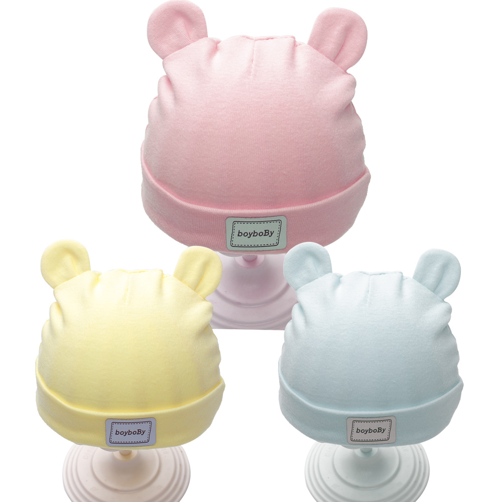 Solid Cotton Newborn Baby Tire Caps With Ear Girls Boys Sun Hats With Bow 2017 Spring Summer Baby Girls Clothing Accessories