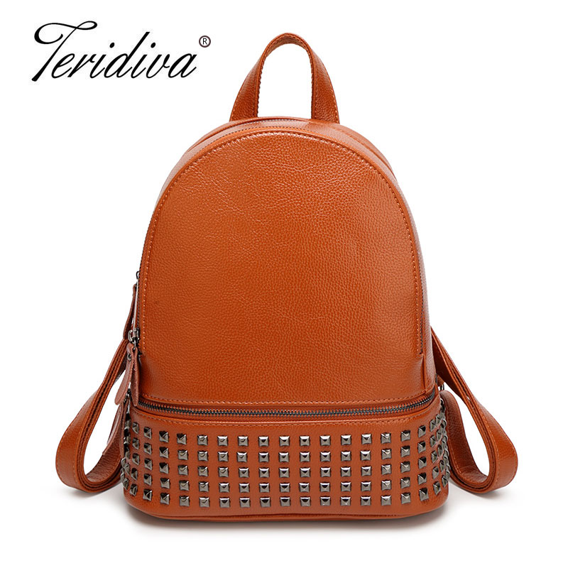 Teridiva Famous Brand Backpack Women Backpacks Solid Vintage Girls School Bags for Girls PU Leather Women Backpack Rivet Bags