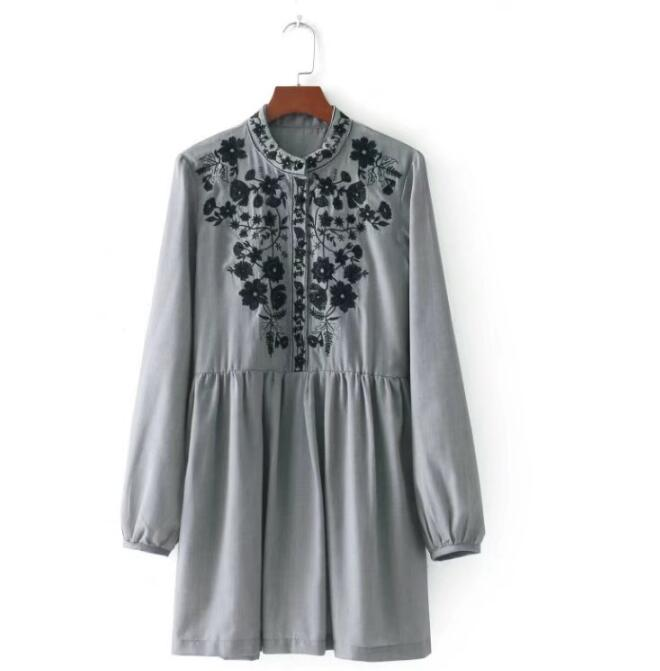 2018 fashion women dress vintage flower embroidery long Sleeve vestidos a line casual autumn grey party
