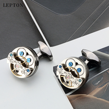 Lepton Tourbillon Movement Design Cufflinks For Mens Wedding Groom Watch Steampunk Gear Mechanism Cuff links Relojes gemelos
