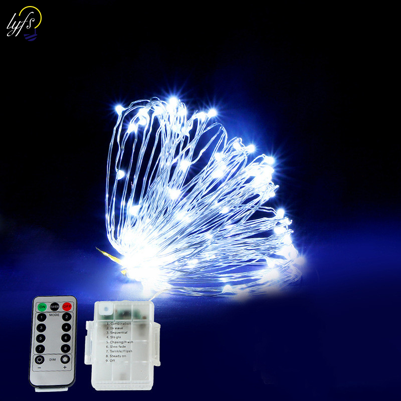5/10/20m LED Copper Wire Light String Battery Power With Remote Control Fairy Lights String For Christmas Holiday Lighting Decor