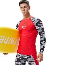 Новинка, камуфляжная Мужская рубашка с длинным рукавом, топы для фитнеса, футболка для мальчиков, Майки для серфинга, спорта, спортзала, бега, одежда, футболка, толстовка