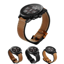 цены 22mm leather hand stitching Wrist strap for xiaomi Huami Amazfit pace xiaomi Huami Amazfit Stratos 2 Samsung gear s3 Watch strap
