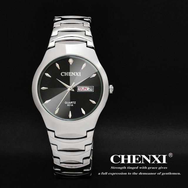 a65980ebf402 Top CHENXI Marca Moda Mujer Relojes Vestido Hombres Silver Plated Steel Relojes  de Pulsera de Cuarzo