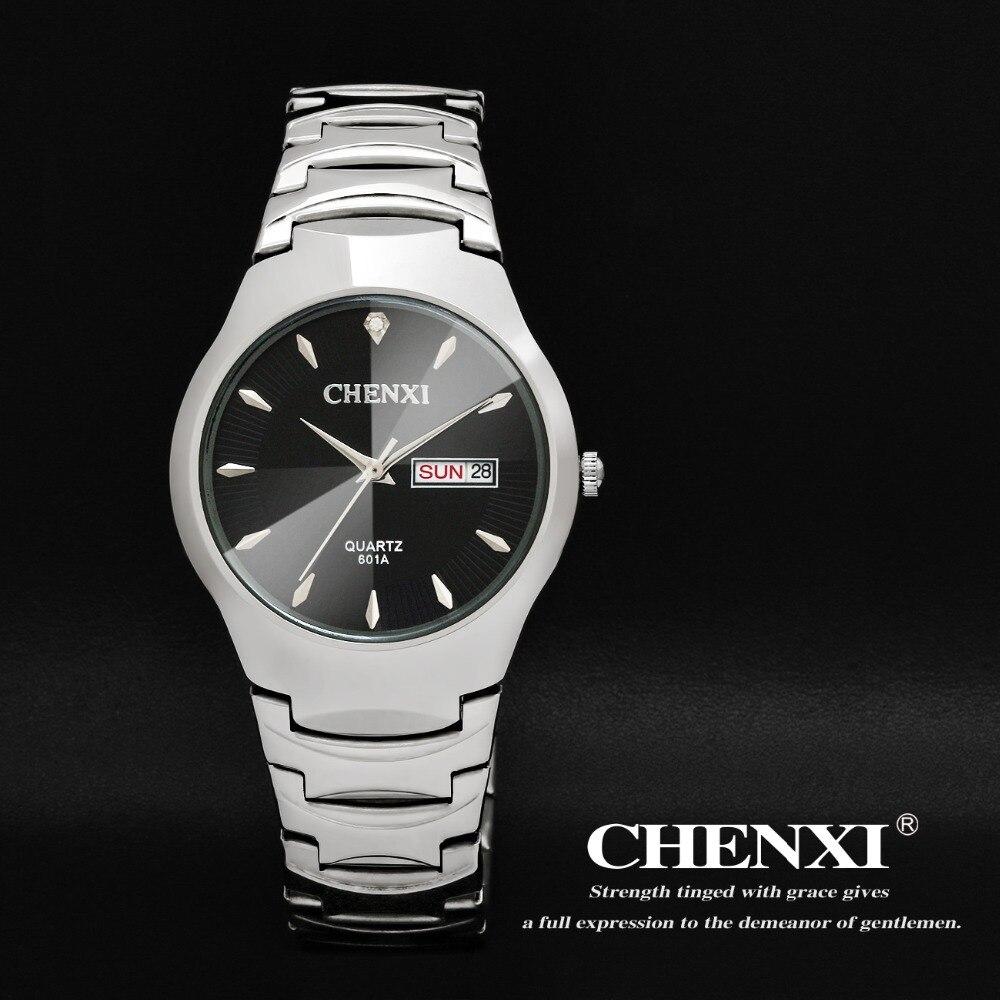 2e278a317c0 Top CHENXI marca moda mulheres vestido relógios homens quartzo relógio de  pulso de aço duplo calendário à prova d   água em Mulheres Relógios de  Relógios no ...