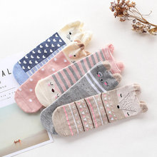 2017 New Style Autumn Cartoon Small Ears Medium Long Ankle Sock Hosiery Character Cotton 3D Anmial Cute Socks for Girls