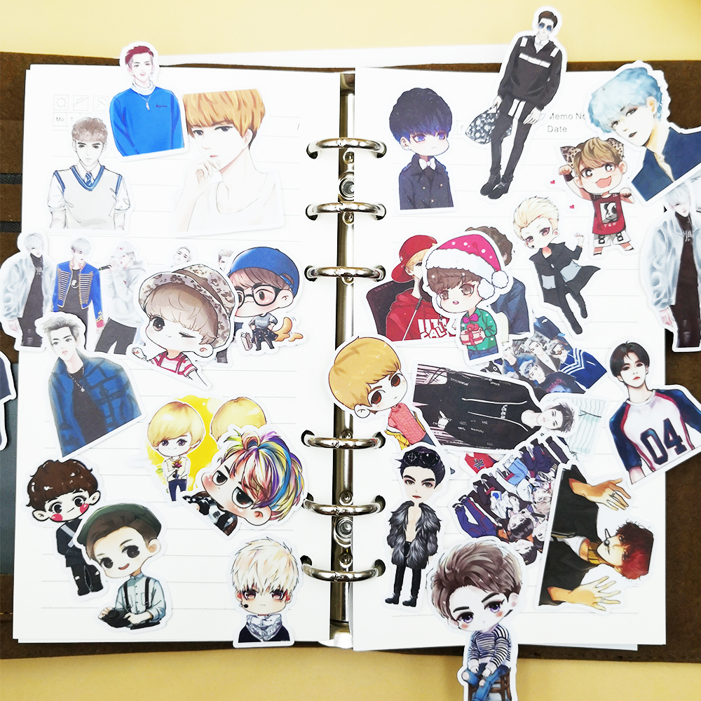 32pcs Creative Cute Self-made BTS/EXO Q Version Boy Background Scrapbooking Stickers /Decorative Sticker /DIY Craft Photo Album
