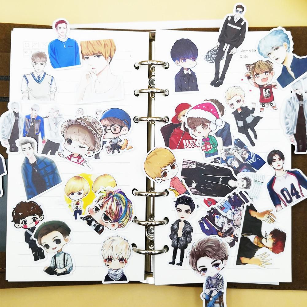 32pcs Creative Cute Self-made BTS/EXO Q Version Boy Background Scrapbooking Stickers /Decorative Sticker /DIY Craft Photo Album