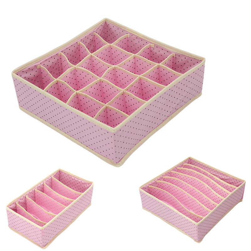 3PC/Set Non-Woven Fabric Dot Pattern Simple Underwear Storage Box Waterprool Clothing Organizer Case Bra Socks For Home Bedroom