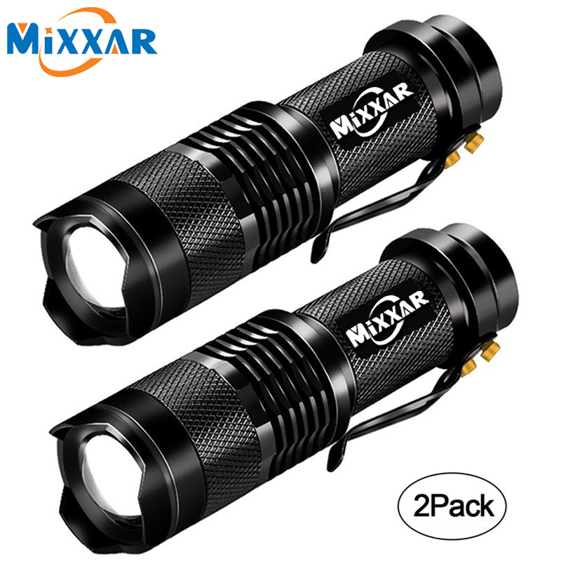 EZK20 Mini Cree Led Flashlight Torch Adjustable Focus Lamp AA/14500 Penlight Waterproof For Camping Hiking (2 Pack NO Battery)