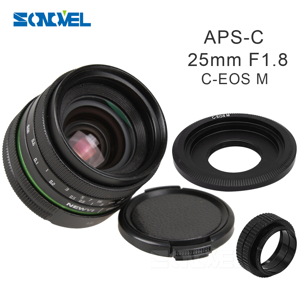 25mm F1.8 APS-C Manual Camera Lens+C Mount Adapter+Macro Rings Kit For Canon EOS M M2 M3 M5 M6 M10 Mirrorless Camera