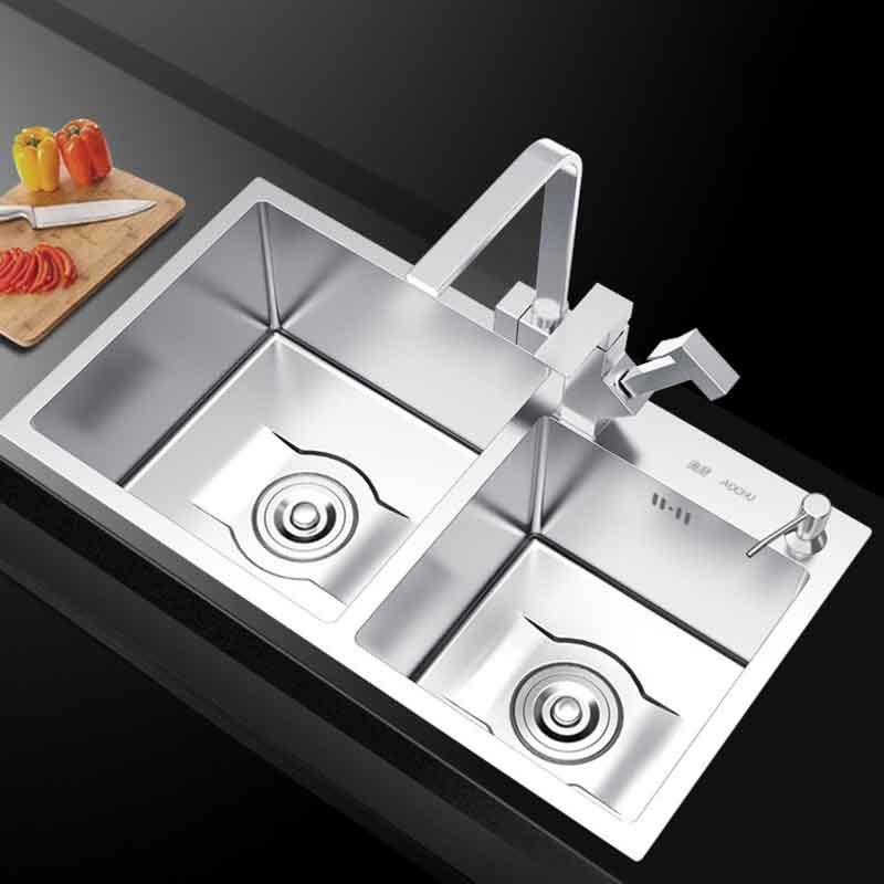 Permalink to Kitchen supplies Handmade kitchen sink basins SUS304 stainless steel stretching double groove kitchen sink 75×41/78×43/80x45cm
